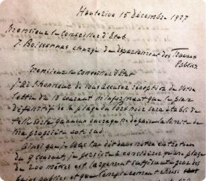 Projet de lettre à Boissonnas, Conseiller d'Etat, 15 décembre 1927