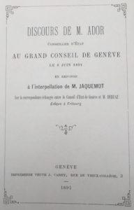 Gustave Ador à Jaquemot - 6 juin 1891 - Grand Conseil